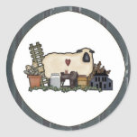 Primitive Country Sheep & Accessories Sticker