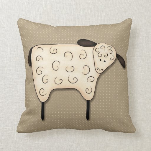 Decorative Primitive Pillows : Primitive Country Sheep Decor Pillows Zazzle