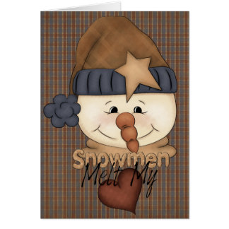 Primitive Country Snowman Holiday Greeting Card