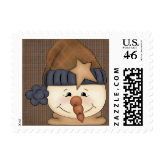 Primitive Country Snowman Postage Stamp