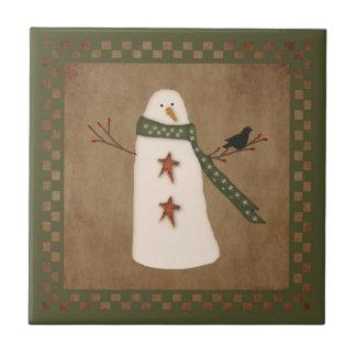 Primitive Country Snowman Tile