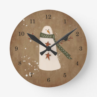 Primitive Country Snowman Wall Clock