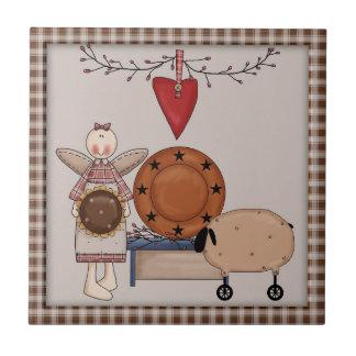 Primitive Country Sunflower Sheep & Angel Ceramic Tile