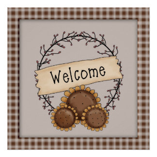Primitive Country Sunflower Welcome Wreath Poster