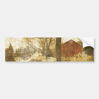 Primitive Country Tree Farm Red Cabin in the woods Bumper Sticker