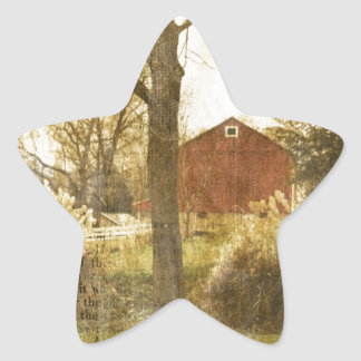 Primitive Country Tree Farm Red Cabin in the woods Star Sticker