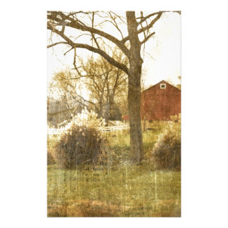 Primitive Country Tree Farm Red Cabin in the woods Stationery