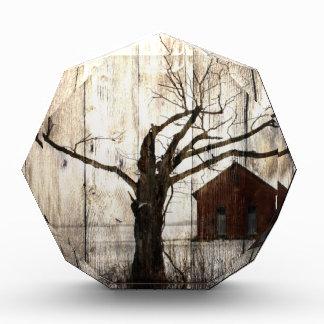 Primitive Country Woodgrain Winter Tree Red Barn Award