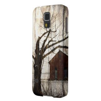 Primitive Country Woodgrain Winter Tree Red Barn Case For Galaxy S5