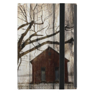 Primitive Country Woodgrain Winter Tree Red Barn Covers For iPad Mini