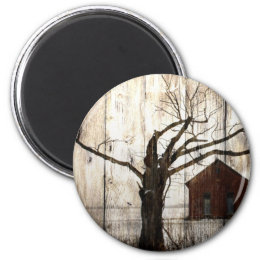 Primitive Country Woodgrain Winter Tree Red Barn Magnet