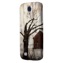 Primitive Country Woodgrain Winter Tree Red Barn Samsung Galaxy S4 Case