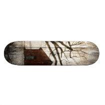 Primitive Country Woodgrain Winter Tree Red Barn Skateboard Deck