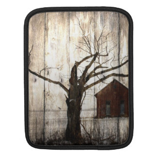 Primitive Country Woodgrain Winter Tree Red Barn Sleeve For iPads