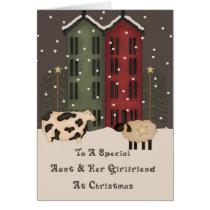 Primitive Cow & Sheep Aunt & Girlfriend Christmas Card