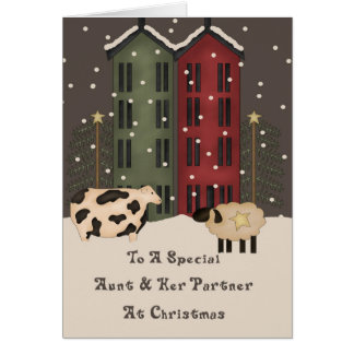 Primitive Cow & Sheep Aunt & Her Partner Christmas Card