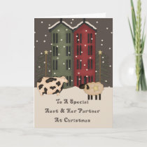 Primitive Cow & Sheep Aunt & Her Partner Christmas Holiday Card