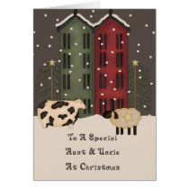 Primitive Cow & Sheep Aunt & Uncle Christmas Card
