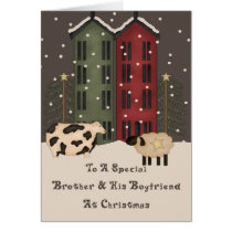 Primitive Cow & Sheep Brother  Boyfriend Christmas Card