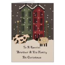 Primitive Cow & Sheep Brother & Family Christmas Card