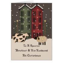 Primitive Cow & Sheep Brother & Husband Christmas Card