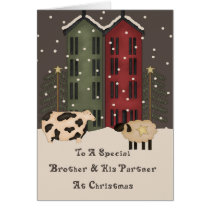 Primitive Cow & Sheep Brother & Partner Christmas Card