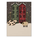 Primitive Cow & Sheep Christmas Card