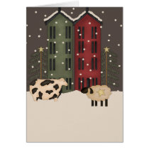 Primitive Cow & Sheep Christmas Card
