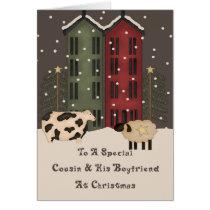 Primitive Cow & Sheep Cousin & Boyfriend Christmas Card