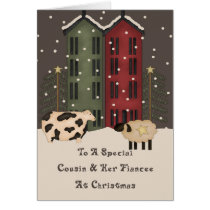 Primitive Cow & Sheep Cousin & Fiancee Christmas Card