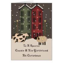 Primitive Cow & Sheep Cousin & Girlfiend Christmas Card
