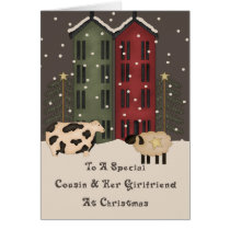Primitive Cow & Sheep Cousin Girlfriend Christmas Card