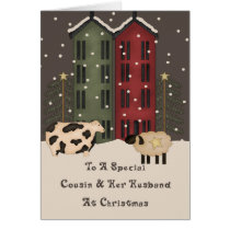 Primitive Cow & Sheep Cousin & Husband Christmas Card