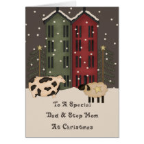 Primitive Cow & Sheep Dad & Step Mom Christmas Card