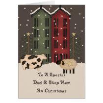 Primitive Cow & Sheep Dad & Step Mom Christmas Card