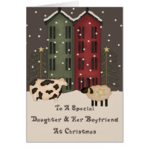 Primitive Cow Sheep Daughter & Boyfriend Christmas Card