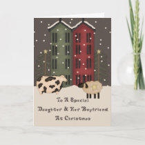 Primitive Cow Sheep Daughter & Boyfriend Christmas Holiday Card
