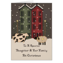 Primitive Cow & Sheep Daughter & Family Christmas Card