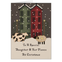 Primitive Cow & Sheep Daughter & Fiancee Christmas Card