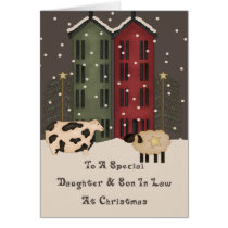 Primitive Cow Sheep Daughter Son In Law Christmas Card