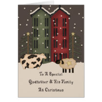 Primitive Cow & Sheep Godfather Family Christmas Card
