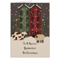 Primitive Cow & Sheep Godmother Christmas Card