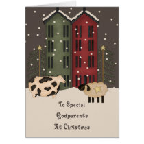 Primitive Cow & Sheep Godparents Christmas Card