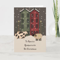 Primitive Cow & Sheep Godparents Christmas Holiday Card