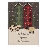 Primitive Cow & Sheep Godson Christmas Greeting Card