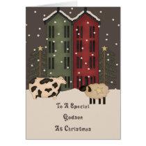 Primitive Cow & Sheep Godson Christmas Card