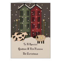 Primitive Cow & Sheep Godson & Fiancee Christmas Card
