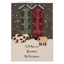 Primitive Cow & Sheep Grandson Christmas Card
