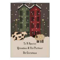 Primitive Cow & Sheep Grandson & Partner Christmas Card