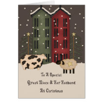 Primitive Cow Sheep Great Niece Husband Christmas Card